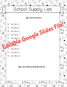 School Supplies List Google Slides Preview